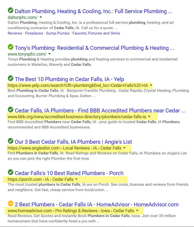 local seo SERP example