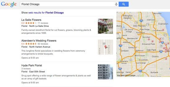 Google maps local results interface