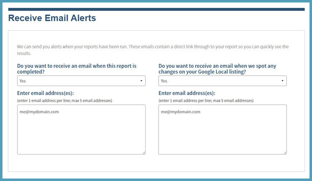 activate google local listing email alerts