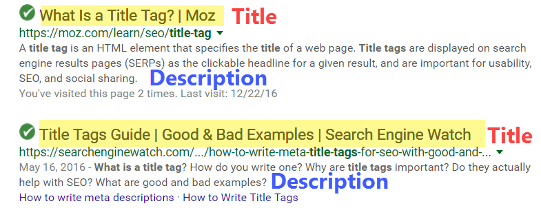 What are title and description tags