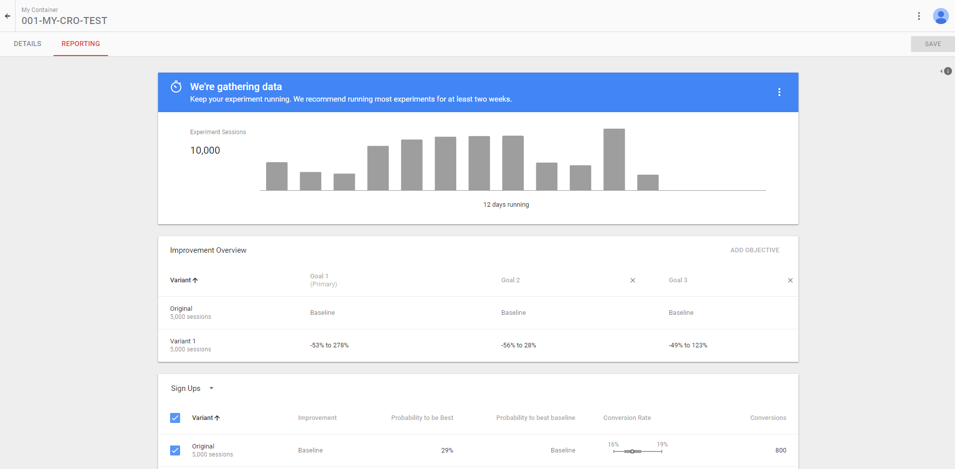 Google Optimize screenshot