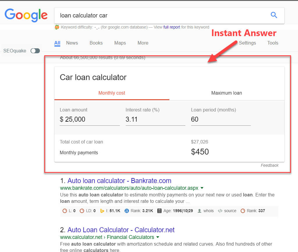 Google Instant Answer/Answer Box