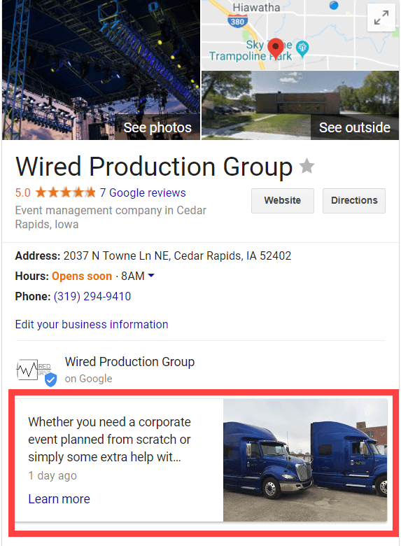Google Posts in Knowledge Panel