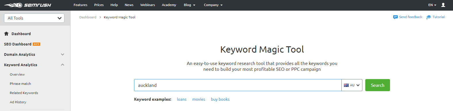 Keyword Magic screenshot