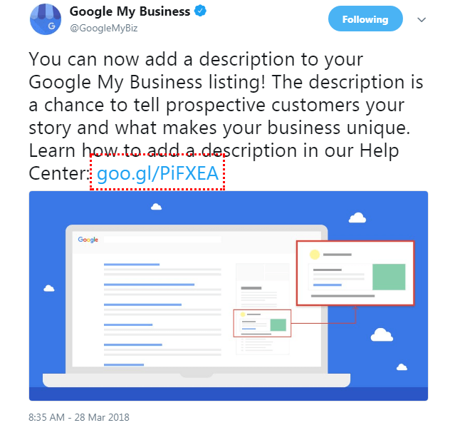 google my business tweet