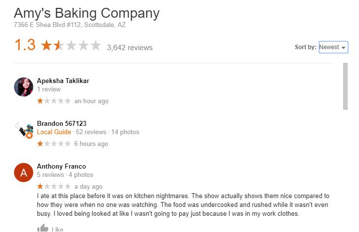 Amy's Baking Company reviews