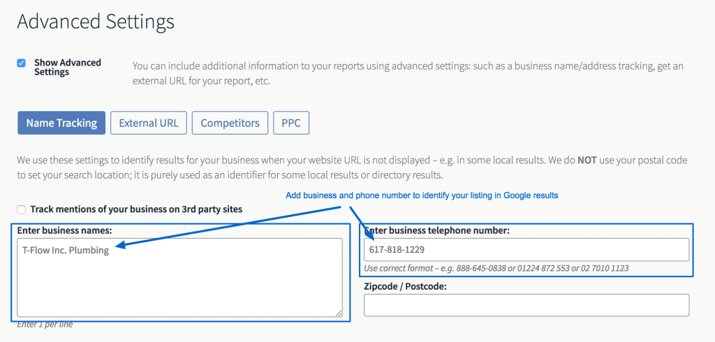 Use business name and number to match Google Local results