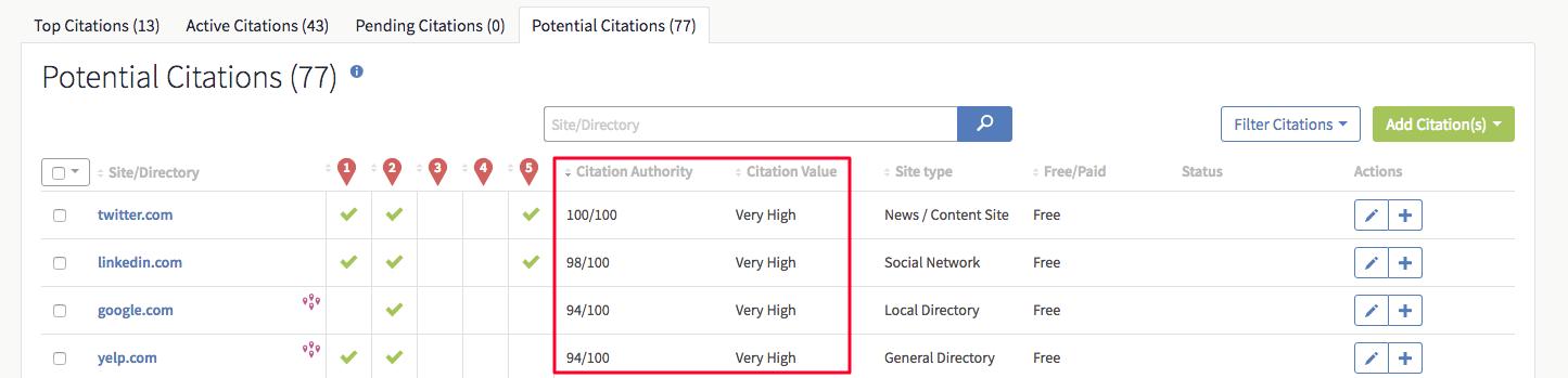 BrightLocal Potential Citations