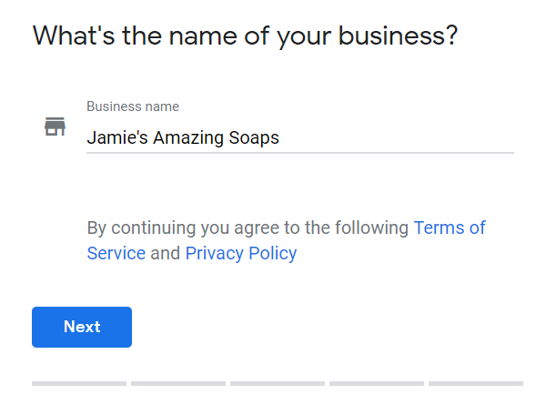 Example of Google My Business business name entry form