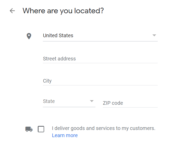 Google My Business address input form example