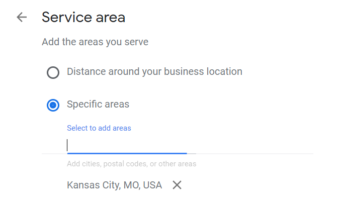 Google My Business service area selection example