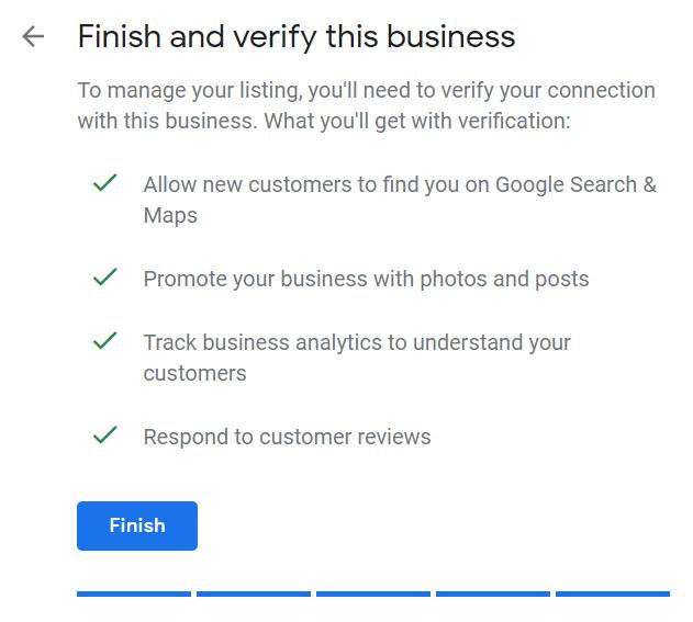 Google My Business verification example
