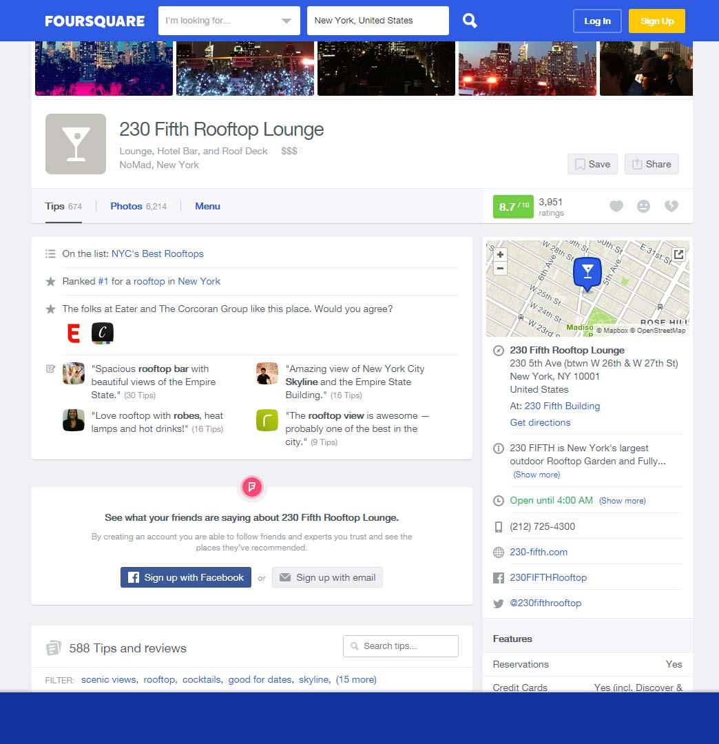 Foursquare structured listing example screenshot