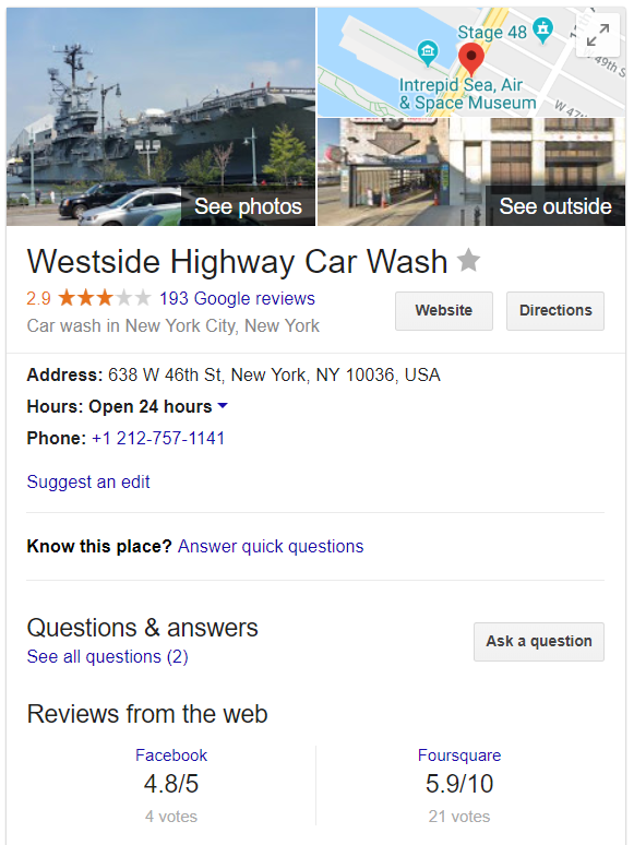 Google business listing knowledge graph