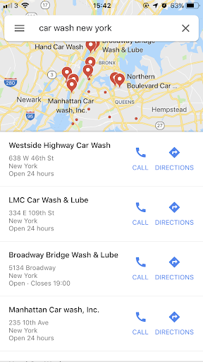 Google business listing on maps, example showing car washes in a specific area