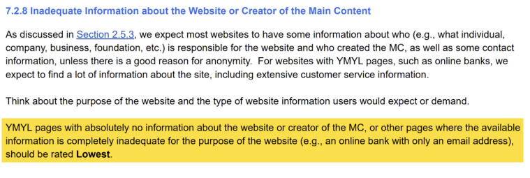 Google Quality Raters' Guidelines - Inadequate Info