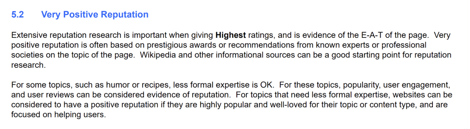 Google Quality Raters' Guidelines - Reputation