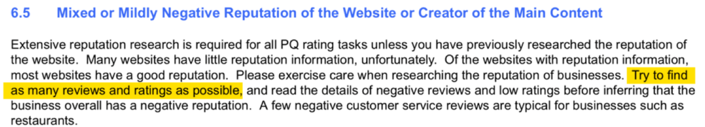 Google Quality Raters' Guidelines - Mildly Negative Reviews
